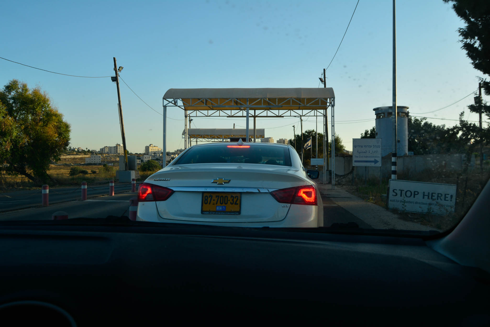This is the checkpoint at the Israeli Settlement. Special permits are required for Palestinians who want to use this checkpoint.
