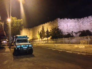 23 June 2015 at 2 am we arrived in Al-Quds. Earl II is parked outside the old city near the Damascus Gate.